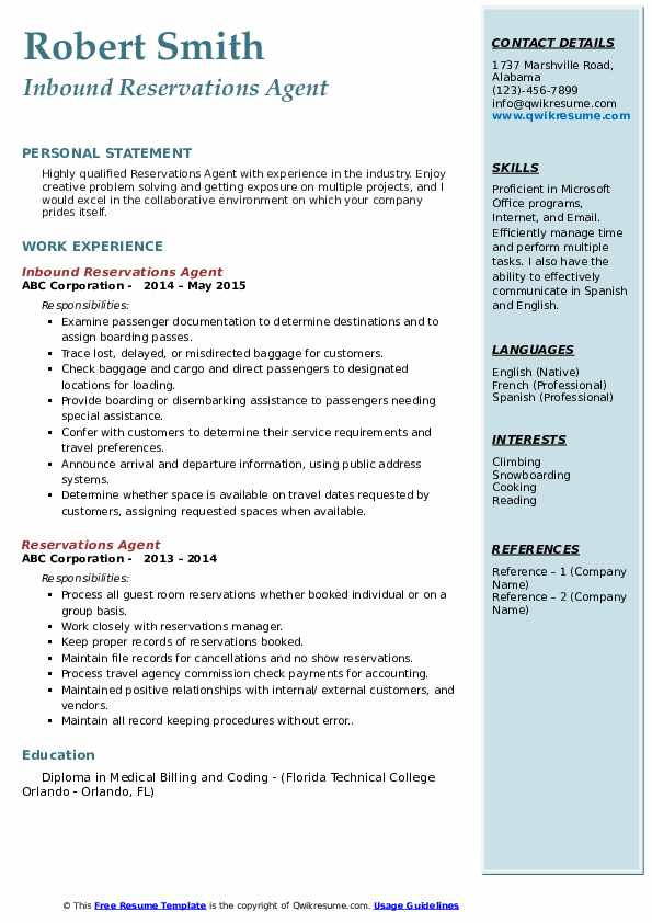 Inbound Reservations Agent Resume Example