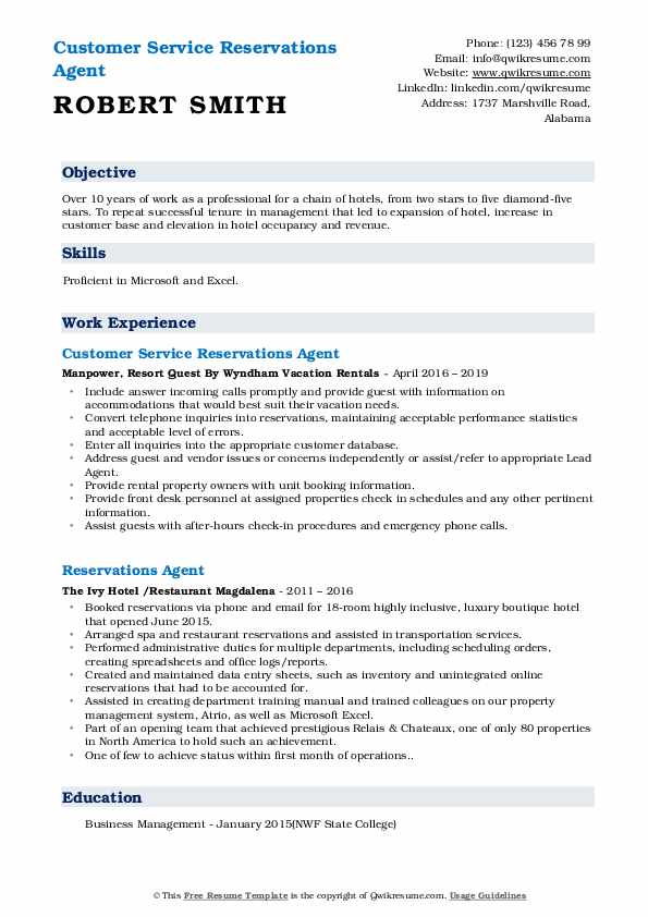 Customer Service Reservations Agent Resume Example