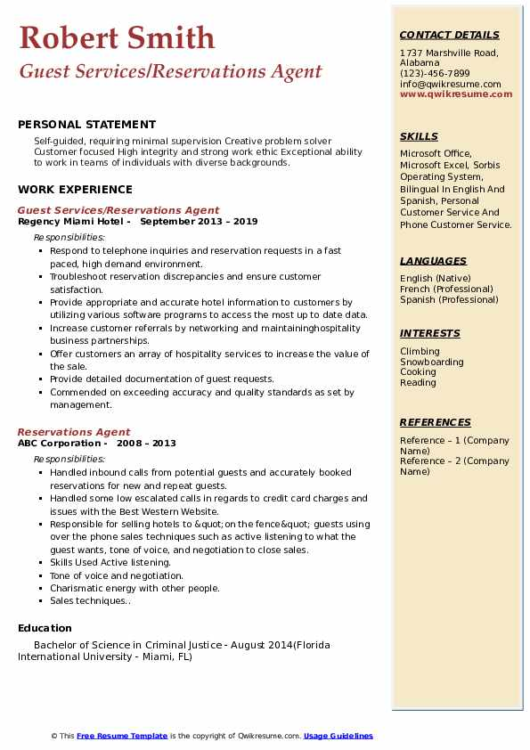 Guest Services/Reservations Agent Resume Example