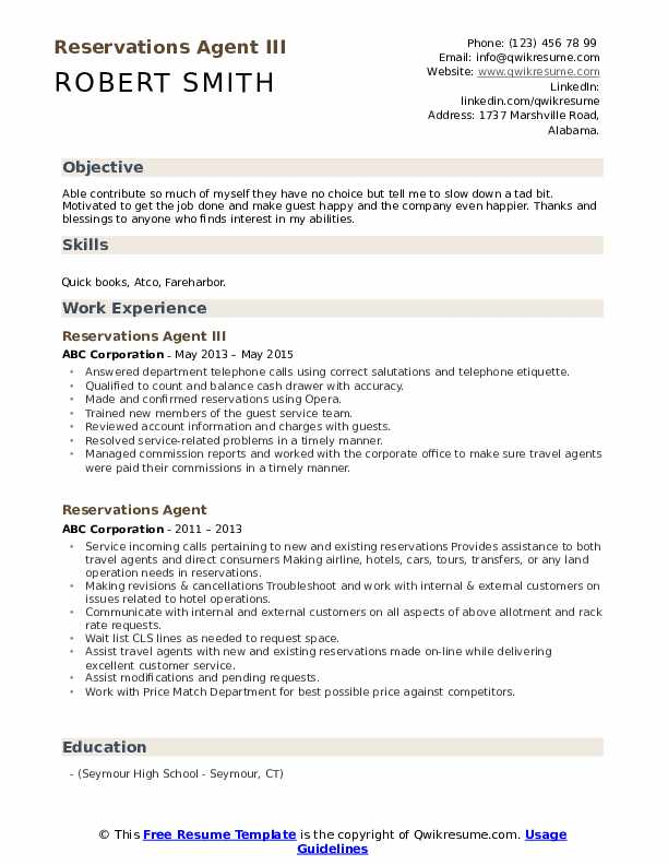 Reservations Agent III Resume Template
