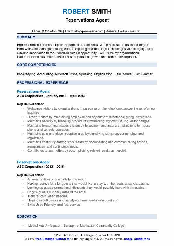 Reservations Agent Resume Samples | QwikResume