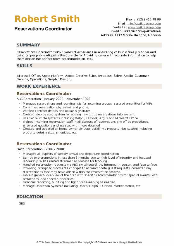 Reservations Coordinator Resume example