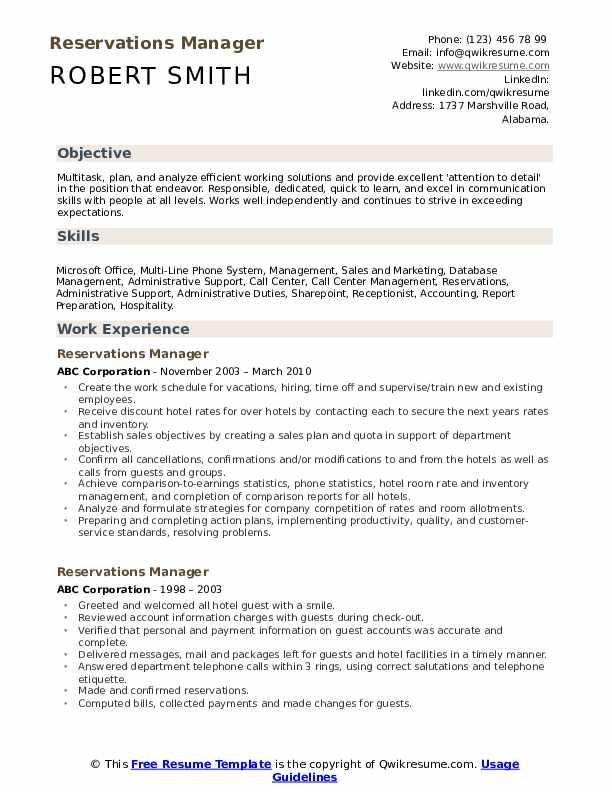 Reservations Manager Resume Sample