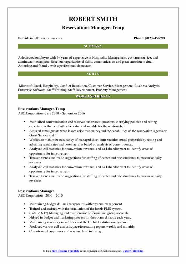 Reservations Manager-Temp Resume Sample