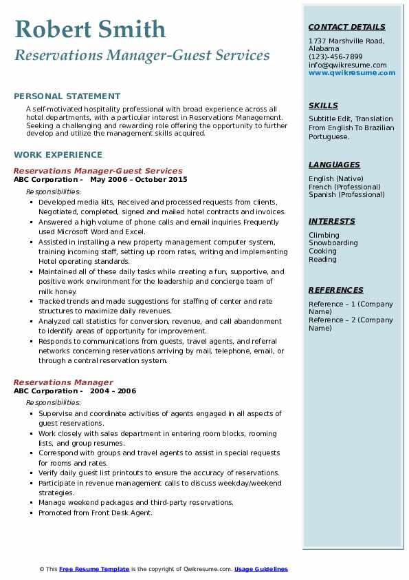 Reservations Manager-Guest Services Resume Sample