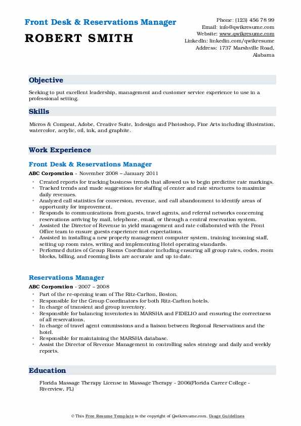 Front Desk & Reservations Manager Resume Example