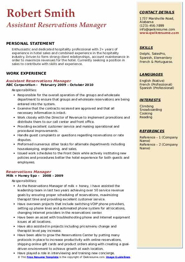 Assistant Reservations Manager Resume Format