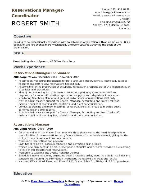 Reservations Manager-Coordinator Resume Format