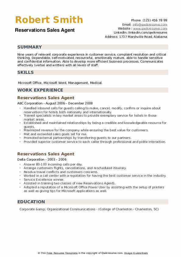 Reservations Sales Agent Resume example