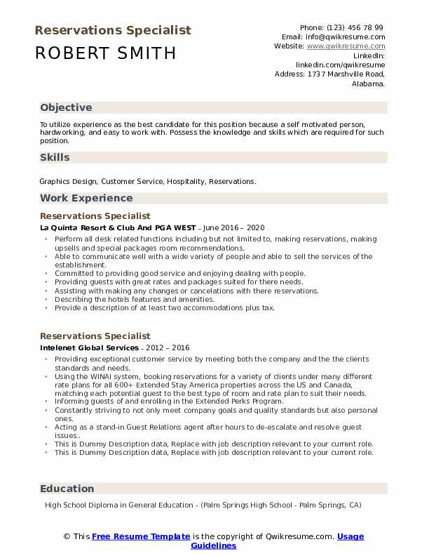 Reservations Specialist Resume example