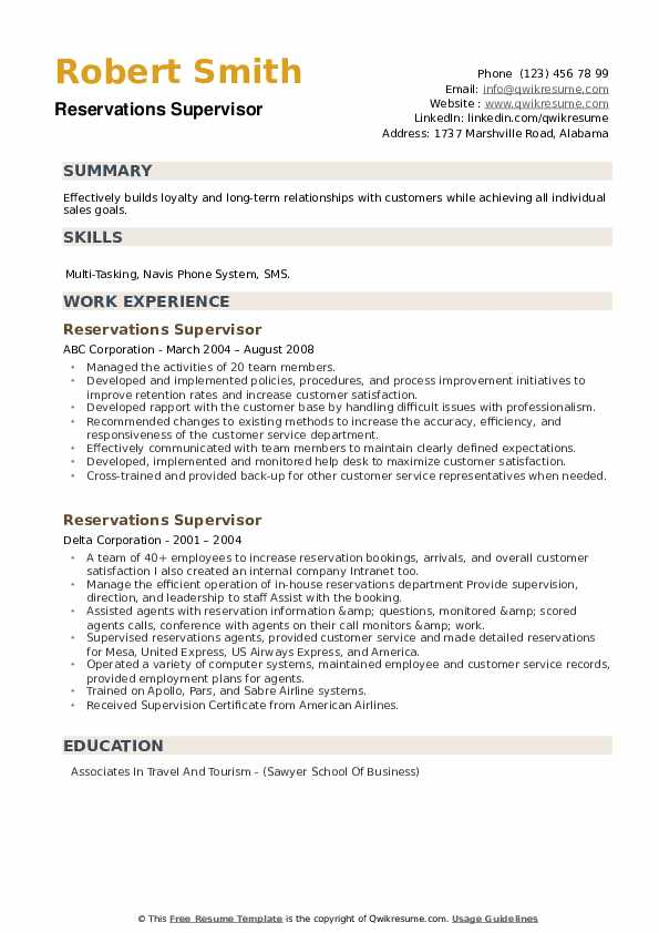 Reservations Supervisor Resume example