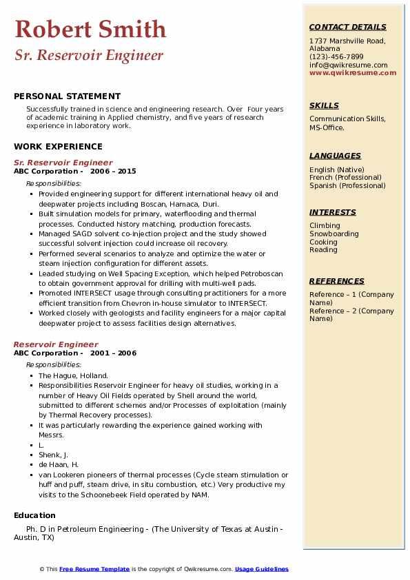 reservoir engineer resume samples