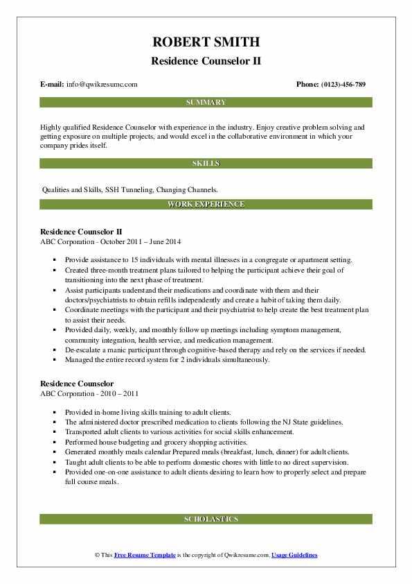 Residence Counselor II Resume Template