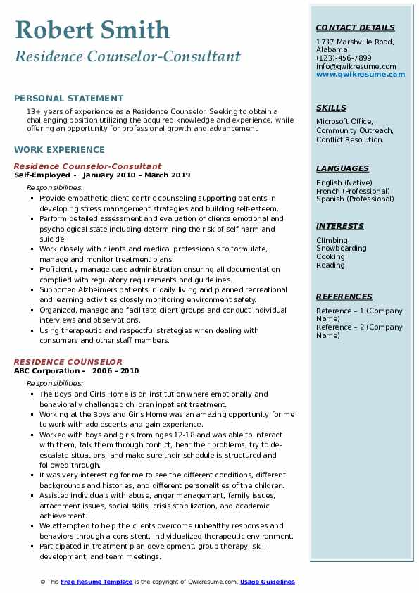Residence Counselor-Consultant Resume Format