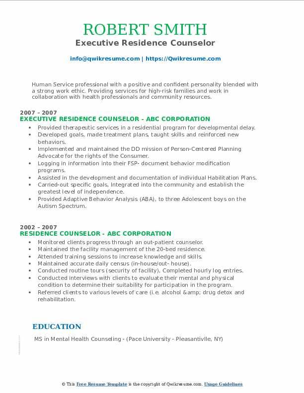 Executive Residence Counselor Resume Template