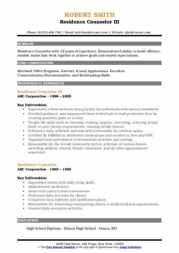 Residence Counselor III Resume Sample