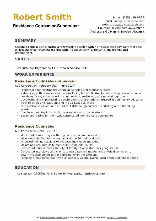 Residence Counselor-Supervisor Resume Format