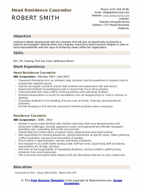 Head Residence Counselor Resume Template