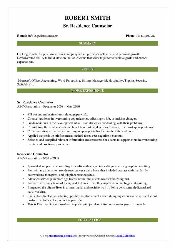 Sr. Residence Counselor Resume Example