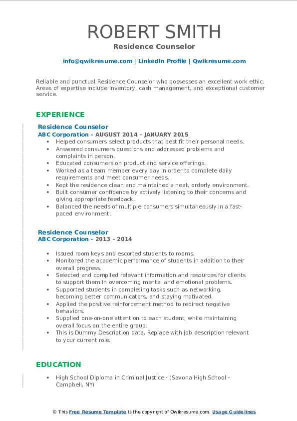Residence Counselor Resume example