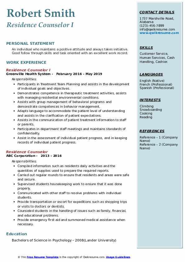 Direct Care Provider II Resume Model