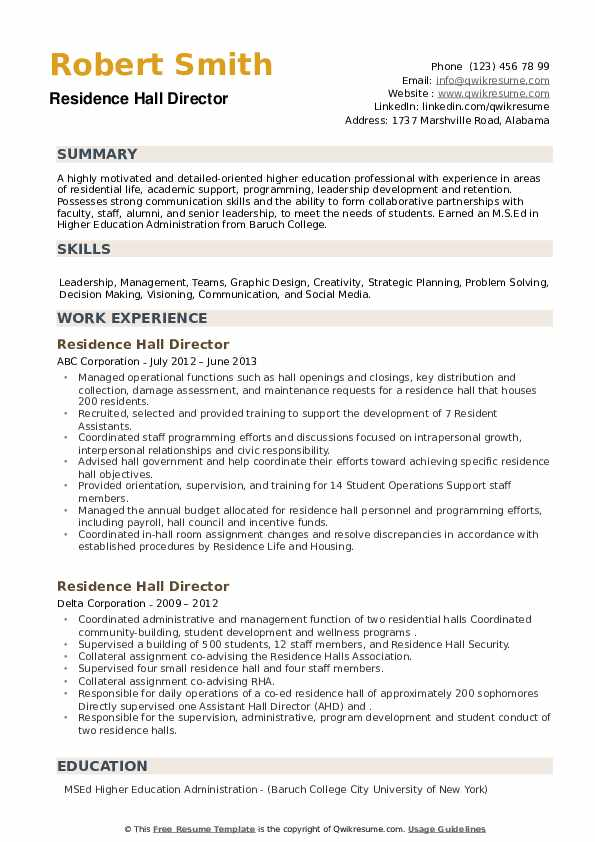 Residence Hall Director Resume example