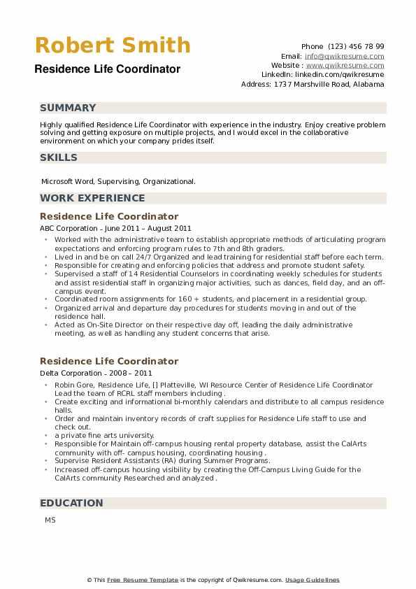 Residence Life Coordinator Resume example