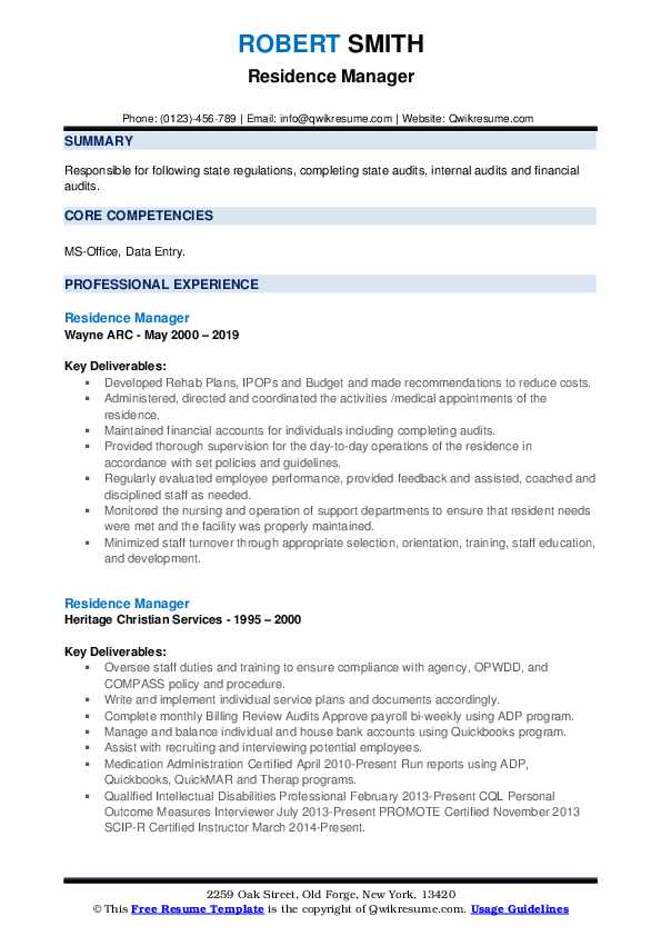 Residence Manager Resume example