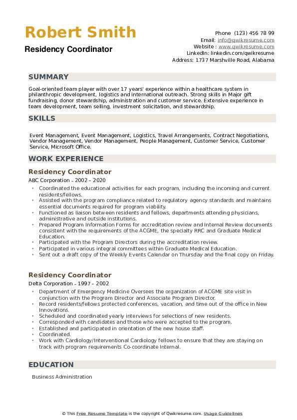 Residency Coordinator Resume example