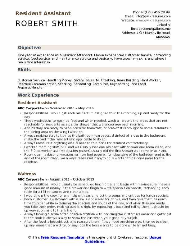 resident assistant resume samples