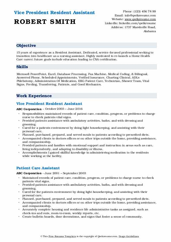 Vice President Resident Assistant Resume Example