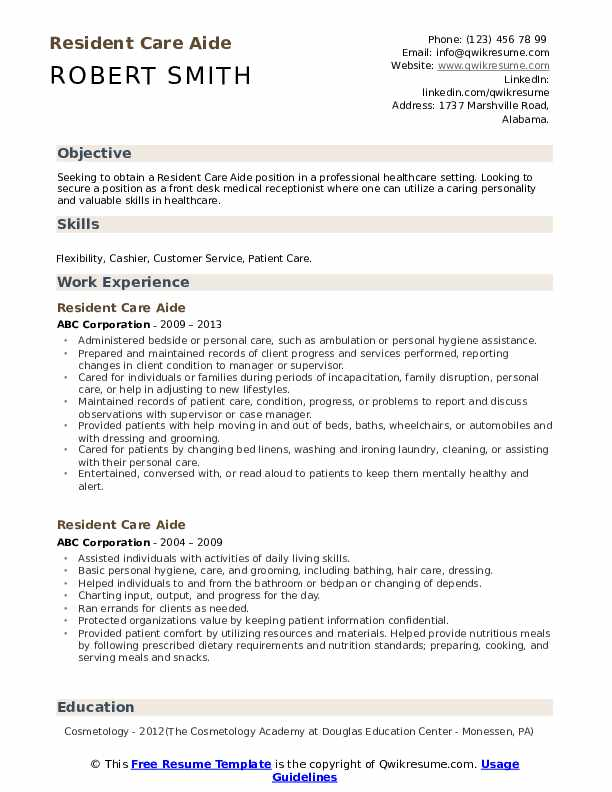 Resident Care Aide Resume Samples Qwikresume