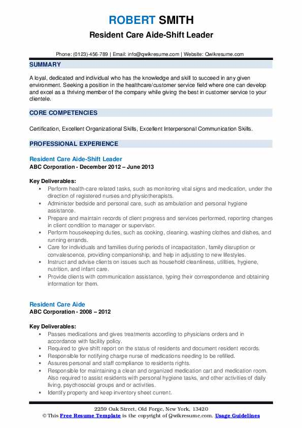 Resident Care Aide-Shift Leader Resume Template