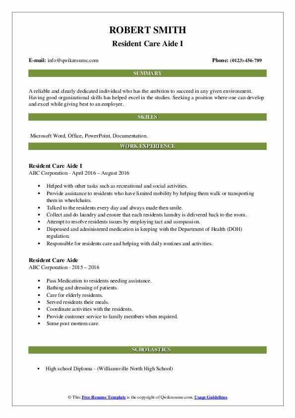 Resident Care Aide I Resume Model