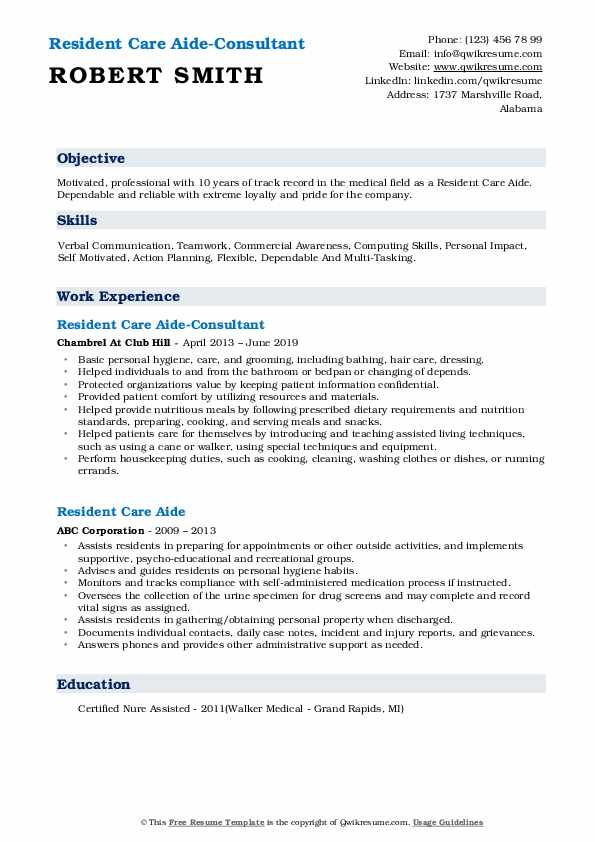 Resident Care Aide-Consultant Resume Sample