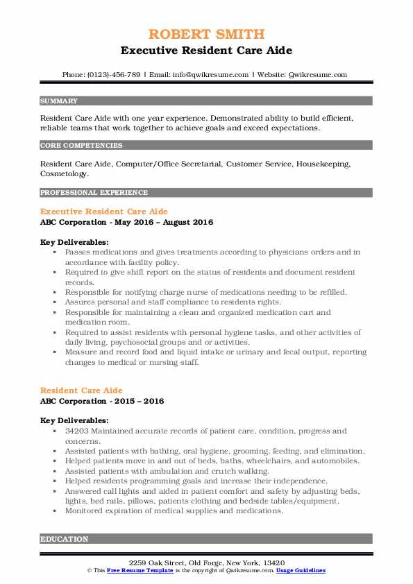Executive Resident Care Aide Resume Model