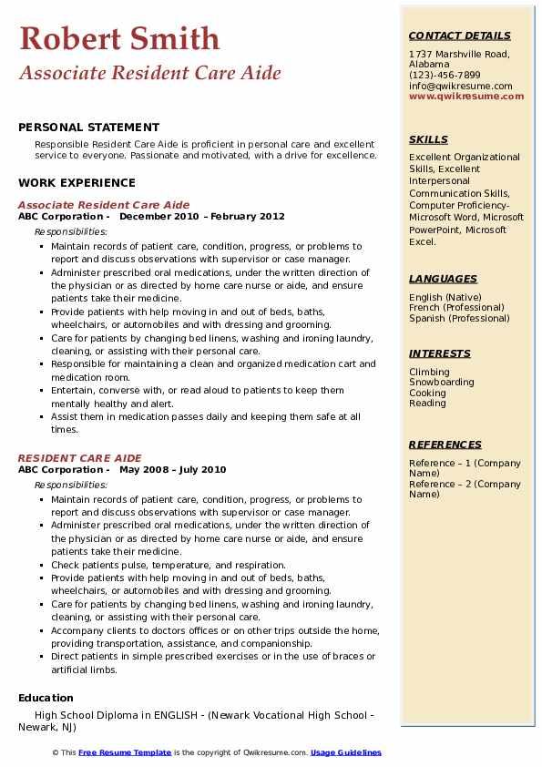 Associate Resident Care Aide Resume Model