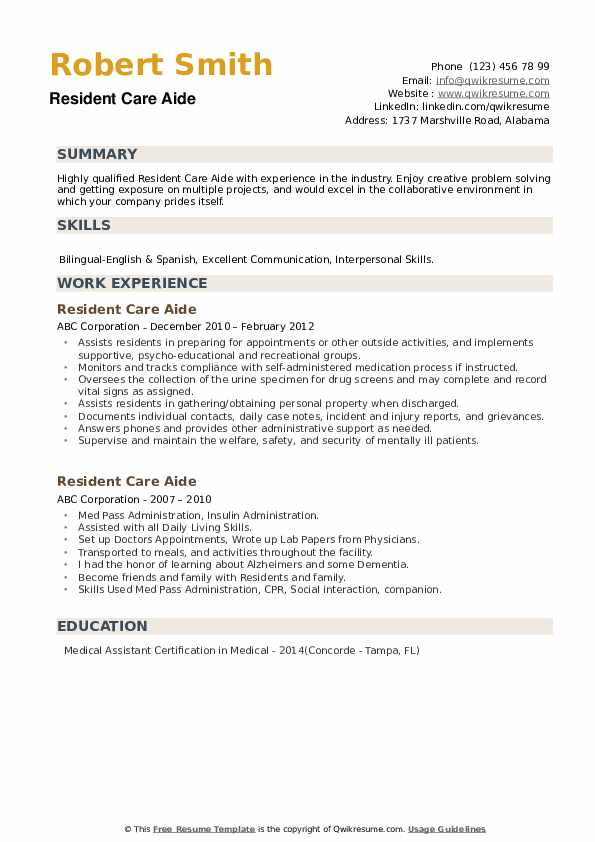 Resident Care Aide Resume Samples