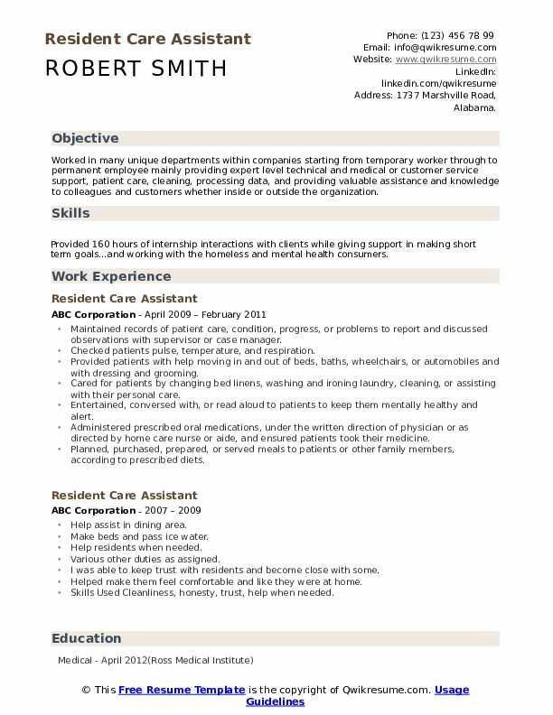 Resident Care Assistant Resume Model
