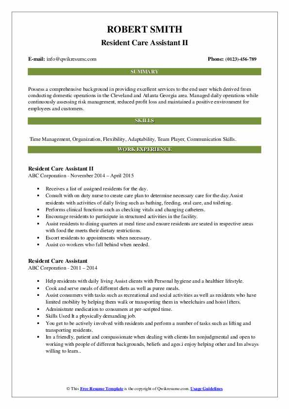 Resident Care Assistant II Resume Format