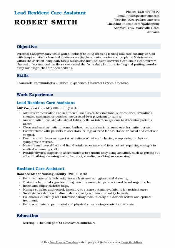 Lead Resident Care Assistant Resume Sample