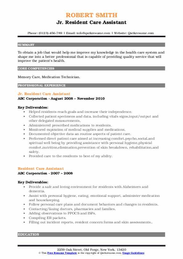 Jr. Resident Care Assistant Resume Example