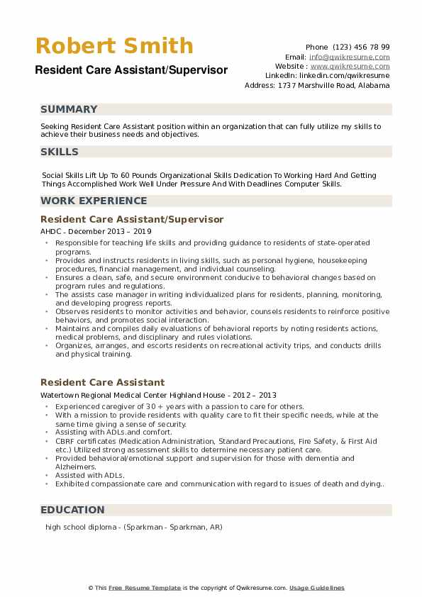 Resident Care Assistant/Supervisor Resume Sample