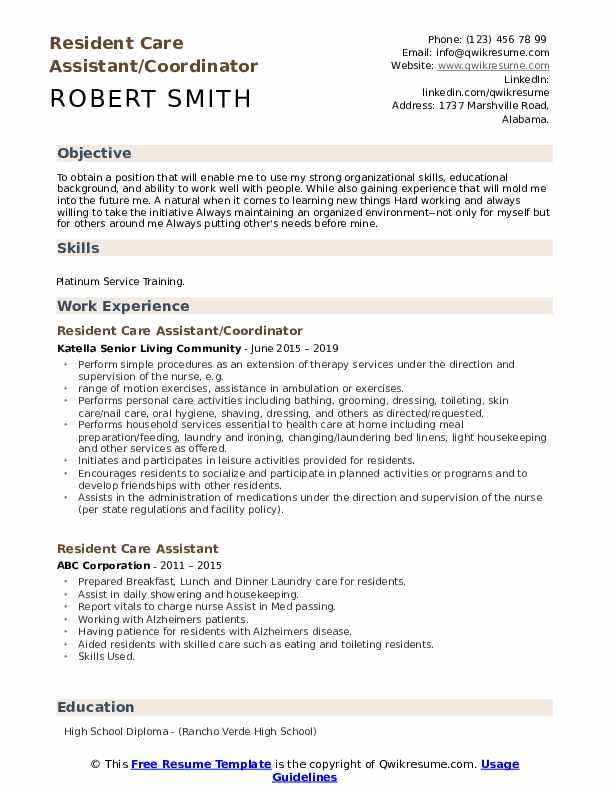 Resident Care Assistant/Coordinator Resume Sample