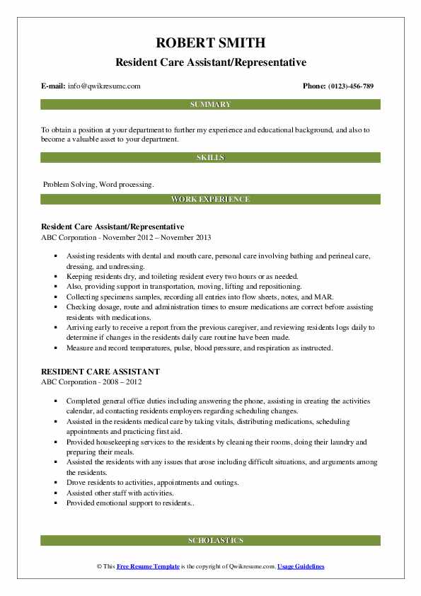 Resident Care Assistant/Representative Resume Sample