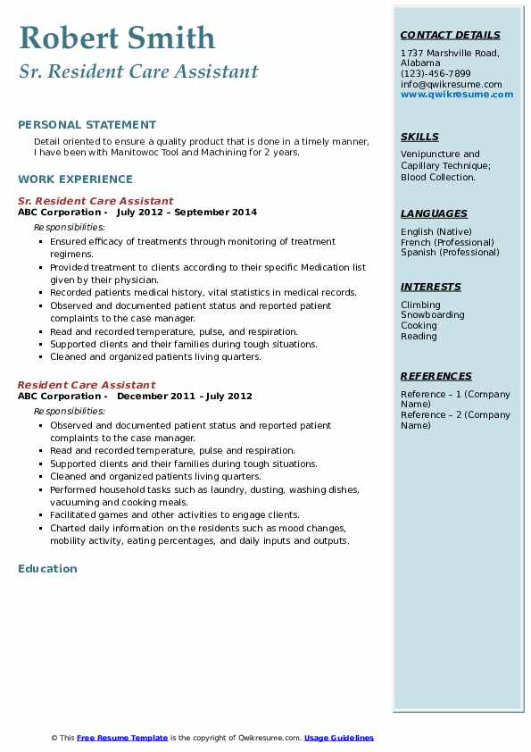 Sr. Resident Care Assistant Resume Model