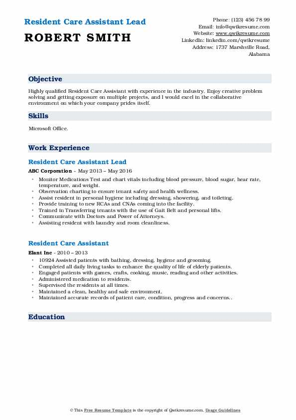 Resident Care Assistant Lead Resume Example