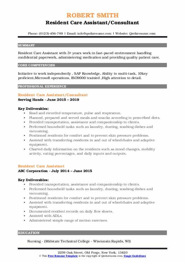 Resident Care Assistant/Consultant Resume Model