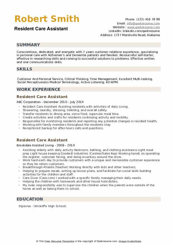 Resident Care Assistant Resume example