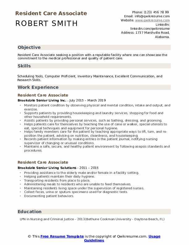 Resident Care Associate Resume Model